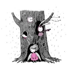Tree angel hollow watch bunny and bird vector