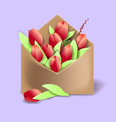 Tulips of red color in the paper envelope with vector