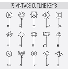 Vintage outline keys set Retro icons logo vector image