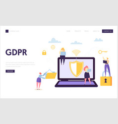 web data internet security landing page digital vector image