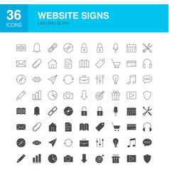 website line web glyph icons vector image