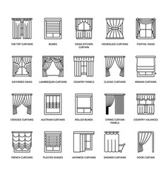 Window curtains shades line icons various room vector