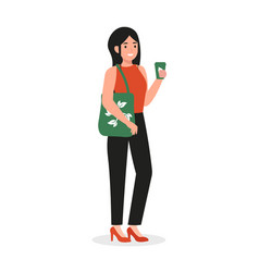 Woman with eco cup and bag vector