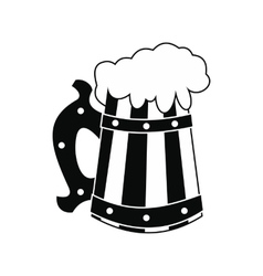 Wooden mug with beer icon vector image