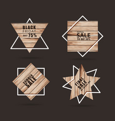 Wooden sign with creative sale banner modern vector