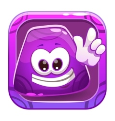 App icon with funny cute purple jelly character vector image vector image