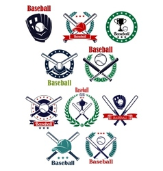 Baseball club and game emblems with equipment vector image