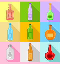 bottle forms icons set flat style vector image