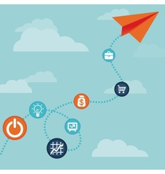Business concept -flying paper plane vector