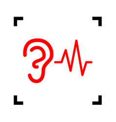 ear hearing sound sign red icon inside vector image vector image