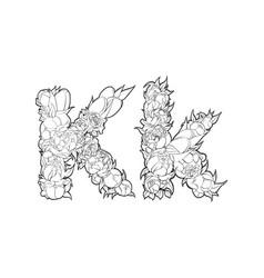 flower alphabet the letter k vector image vector image