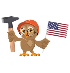 Labor day usa owl holding hammer and american vector