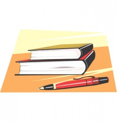pen and books vector image vector image