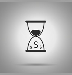 time is money icon hourglass and dollar symbols vector image vector image