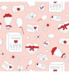 Valentines Day hand drawn objects seamless vector image