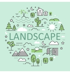 Landscape Nature Line Art Thin Icons vector image
