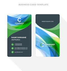 Vertical Double-sided Business Card Template with vector image