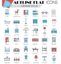 Furniture ultra modern outline artline flat vector image