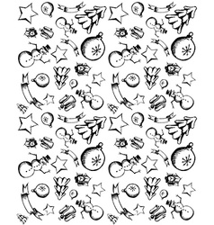Hand draw Christmas icons seamless pattern vector image vector image