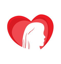 heart shape with a girl silhouette vector image
