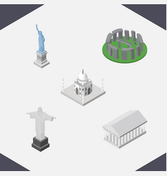 isometric travel set of rio india mosque athens vector image vector image