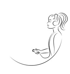 line art woman listening to music vector image