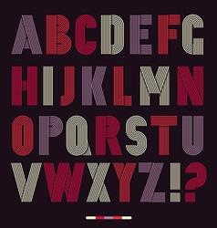 Retro stripes funky fonts set vector image