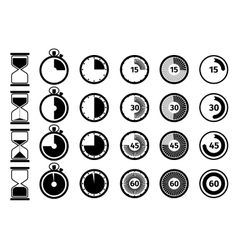 Timer stopwatch and hourglass icon set vector image