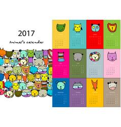 Funny animals calendar 2017 design vector