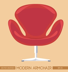 Red modern armchair over peach background Digital vector image vector image