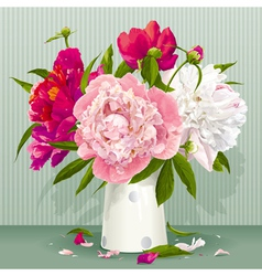 Red peony bouquet vector image