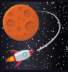 rocket with mars in space vector image
