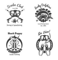 Scuba diving club labels set Underwater swimming vector image vector image