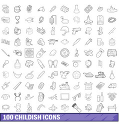 100 childish icons set outline style vector image