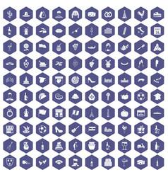 100 wine icons hexagon purple vector