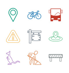 9 road icons vector image