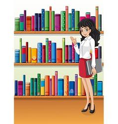 A librarian near the bookshelves vector