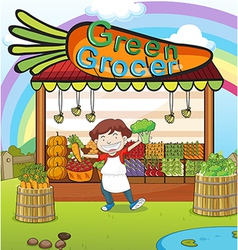 A man and a vegetable shop vector image