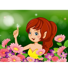 A pretty fairy in the garden with pink and purple vector