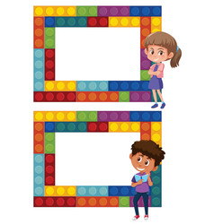 A set of boy and girl puzzle frame vector