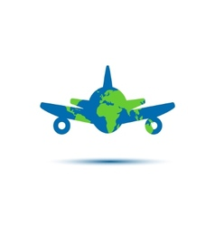 Abstract colorful minimalistic air plane logo vector