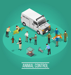 Animal control isometric composition vector