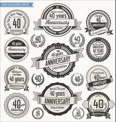 Anniversary retro badges collection 40 years vector