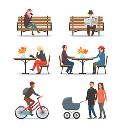 autumn activities fall and people outdoor vector image
