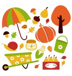 Autumn garden elements vector image