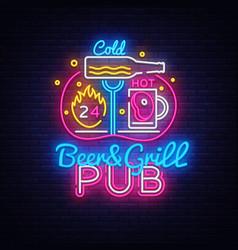 beer grill neon sign design template beer vector image