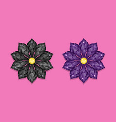 black and dark purple diamond flower vector image