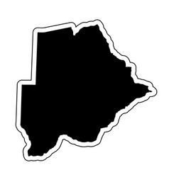 black silhouette of the country botswana with the vector image