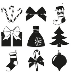 black white 9 christmas elements silhouette set vector image