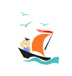 boy on a sailing boat in search an unknown land vector image